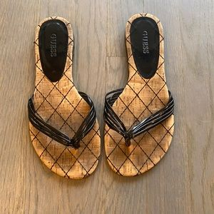 Guess sandals with cork bottom and black straps